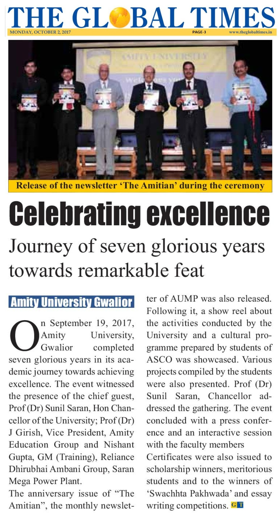 The Global Times-Celebrating Excellence -Amity