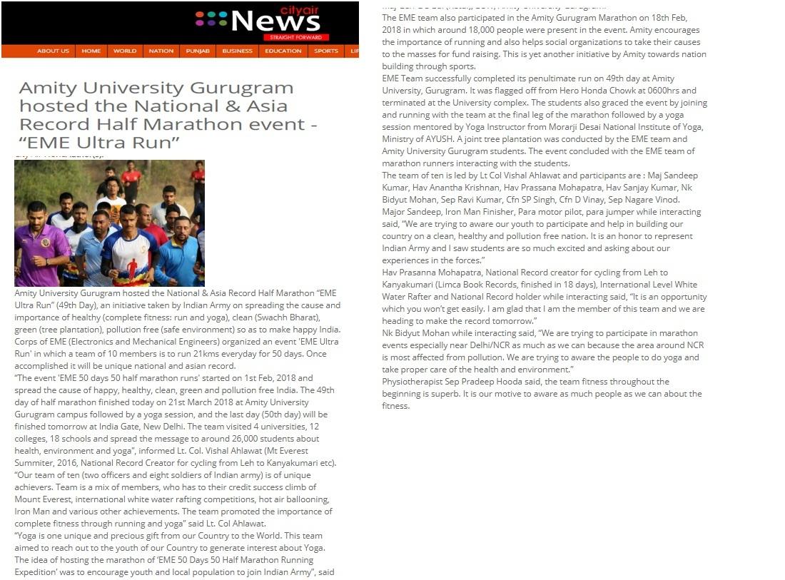 Amity University Gurugram hosted the National & Asia Record Half Marathon