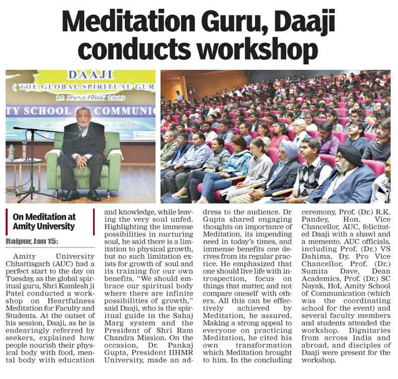 Meditation Guru, Daaji conducts workshop