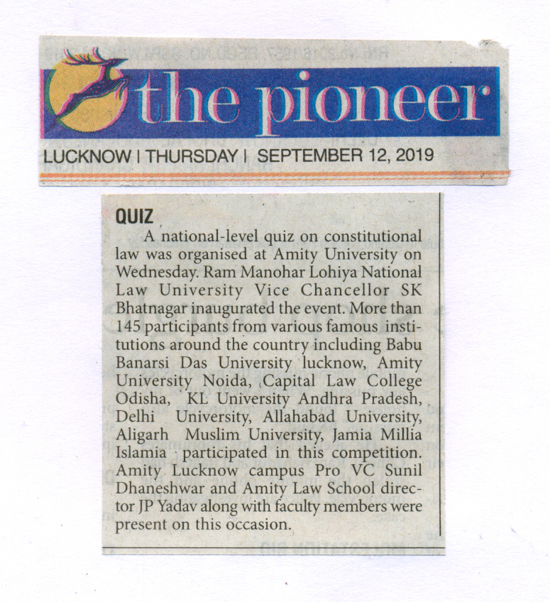 National quiz on constitutional law organized at Amity University