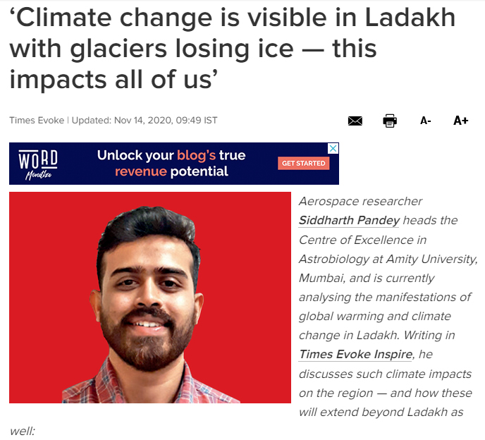Climate change is visible in Ladakh with glaciers losing ice ..