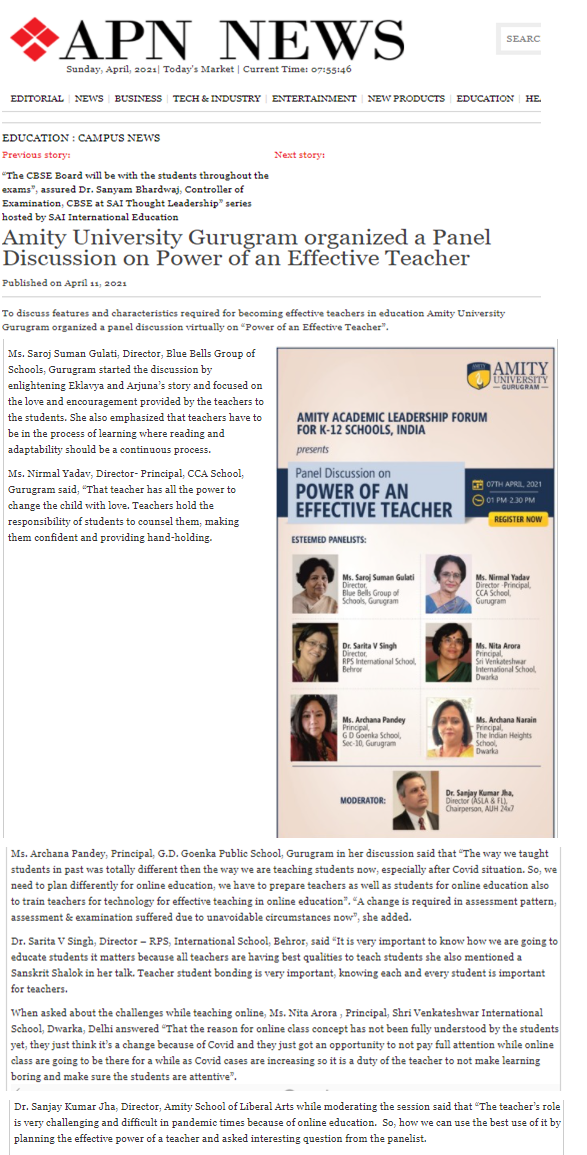 Amity University Gurugram organized Panel Discussion on Power of an Effective Teacher