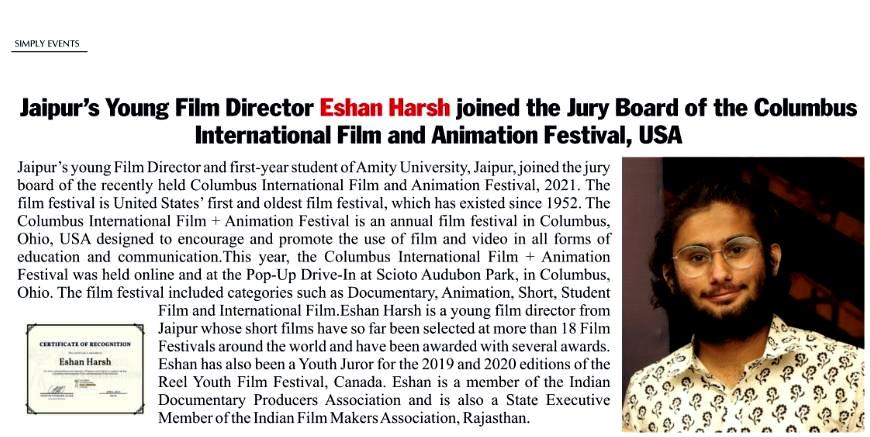 Eshan Harsh nominated as Jury member in Columbus International Film and Animation Festival