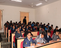 Participants of various schools writing innovative ideas on Application of Science and Technology in India