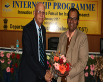 Prof. P K Joshi, Department of Environmental Science, JNU, New Delhi felicitated by Prof. (Dr.) S P Bajpai, Dean Research and Coordinator of the programme