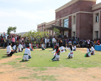 Student playing Nukkad Natak