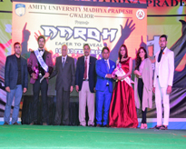 Mr. AAROH – Puneet Dusani, Student of B.Com and Ms. AAROH – Niharika Agrawal, student of B.Tech (Biotech) with Hon'ble Vice Chancellor & Pro-Vice Chancellor, AUMP