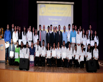 Toppers of the University with dignitaries