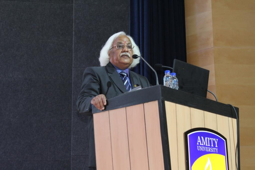 Prof (Dr) P B Sharma, Vice Chancellor Amity University Gurugram addressing new students