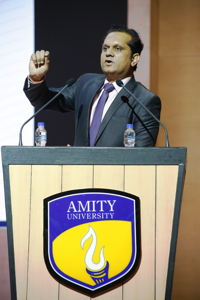 Prof (Dr) Vikas Madhukar, Director Admission Amity University Gurugram addressing audience