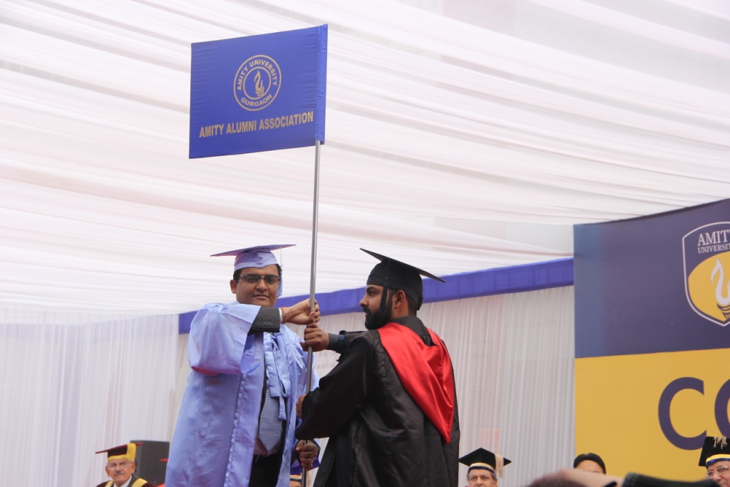 Alumni of Amity University Gurugram handed over the flag to the student of Amity University Gurugram