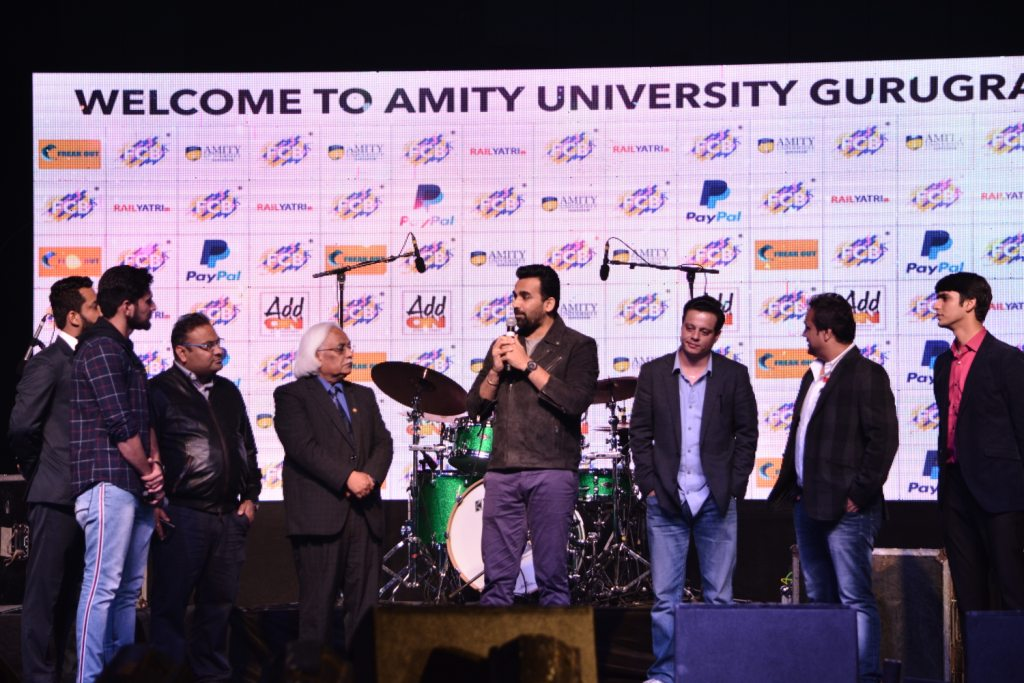 Zaheer Khan at AMIFEST 2019 in conversation with the Prof P B Sharma, VC, AUH