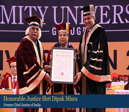 Honorable Justice Shri Dipak Misra receiving Honorary Doctorate from Dr Aseem Chauhan, Chancellor, Amity University Gurugram