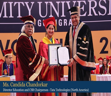 Ms Candida Chandorkar, Director Education and CSR Chairperson- Tata Technologies(North America) felicitated by Dr Aseem Chauhan,Chancellor,Amity University Gurugram