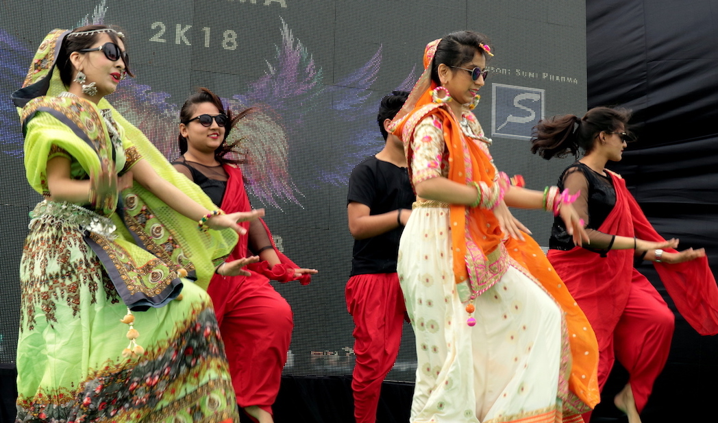 Group dance performance by the students