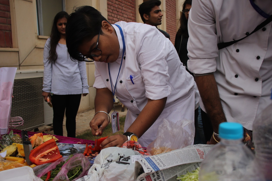 Participant during fireless cooking competition