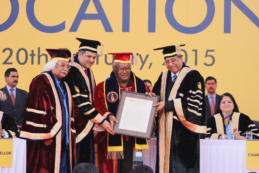 Prof. CNR Rao conferred with Honorary Doctorate from Dr. Ashok K Chauhan, Founder President, RBEF and Mr. Aseem Chauhan- Chancellor, AUG, Additional President, RBEF, and Prof. P B Sharma, Vice Chancel