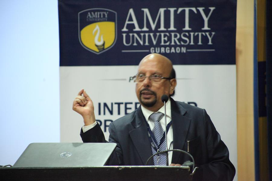 Dr J P Dudeja, Director, Amity insitute of laser technology addressing students on laser technology