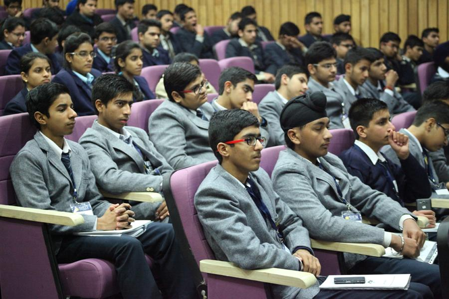 Students having interaction with panel on career in science & technology