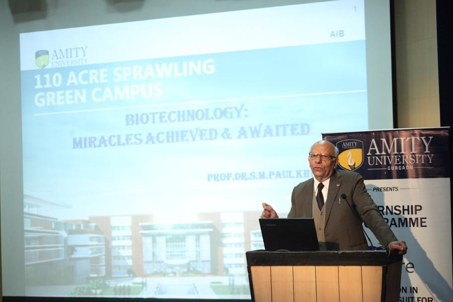 Prof Dr SM Paul Khurana speaking on Biotechnology topic in Insipre 2014