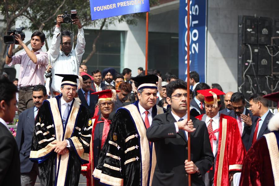 Chancellor Sri Aseem Chauhan during March Past with Sri Atul Chauhan & Dr. G Madhavan Nair