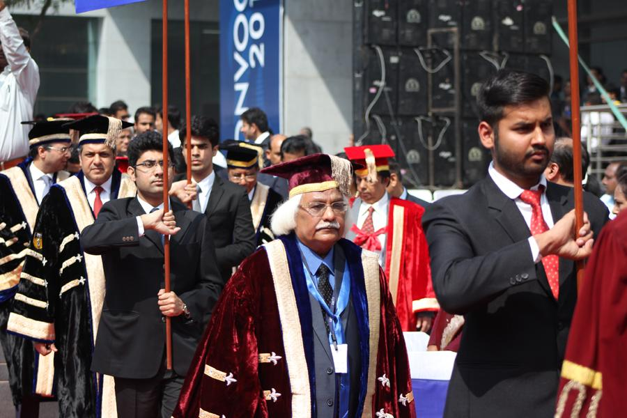 Vice Chancellor Prof Dr. PB Sharma during March Past with Sri Aseem Chauhan & Sri Atul Chauhan