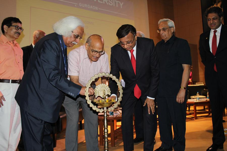 Founder President Sri Ashok Chauhan & Prof PB Sharma, Vice – Chancellor, AUH, Gurgaon Lighting the Lamp