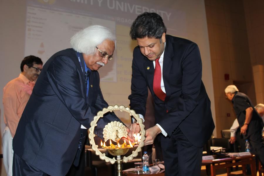 Chancellor Sri Aseem Chauhan & Prof PB Sharma, Vice – Chancellor, AUH, Gurgaon Lighting the Lamp