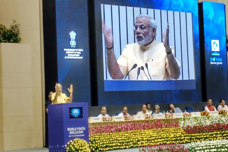 Honorable PM delivering speech