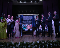 The commemoration stone of the University being unveiled