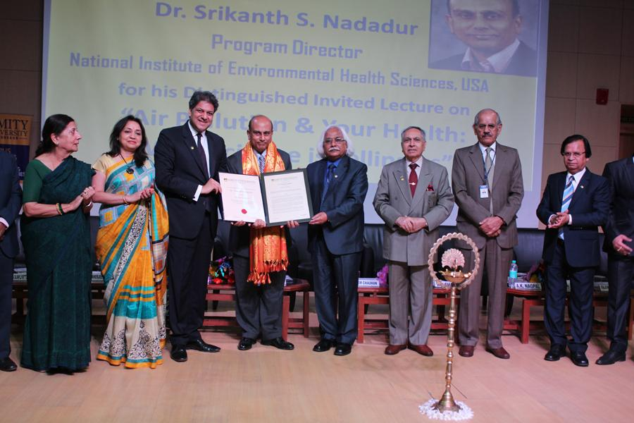 Amity University Gurgaon Confers Honorary Award to Dr. Nadaur NIEHS USA