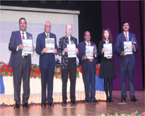 Dignitaries releasing Abstract Book during the inaugural session.