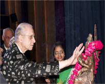 Keynote Speaker, Prof.(Dr.) Jurg Ott, Emeritus Professor, Rockefeller University, New York ( USA) garlanding Maa Saraswati at the inaugural session of Int-BIONANO-2016