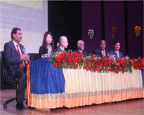 Dignitaries on the dais during inaugural session(From Rt: Prof.Rajesh Singh Tomar, Padma Shri Prof.P.Pushpangadan, Lt.Gen(Retd.) V.K.Sharma, Prof.Jurg Ott, Dr.Atsuko Imai, Dr.M.P.Kaushik)