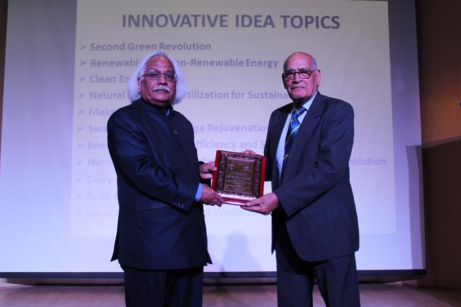 Hon'ble VC Prof. P B Sharma Felicitating Dr K L Chopra, Former Director, Indian Institute of Technology, Kharagpur