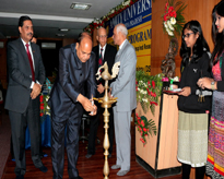 Prof. G.P.S. Raghav, Chief Scientist & Head, Bioinformatics Centre IMT Chandigarh lighting the lamp